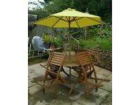 Outdoor furniture set, table, chairs, parasol and parasol wooden stand