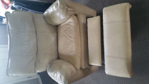 cream colour leather recliner