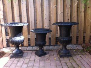 """Huge cast iron garden urns / planters 31"""" high"""