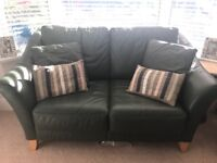 Leather green sofa couch 2/3 seater