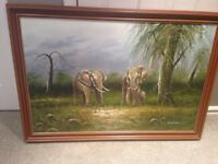 elephant framed oil painting by Wilson