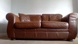 Brown Leather Sofas and 2- Armchairs