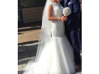 Fishtail lace wedding dress size 10