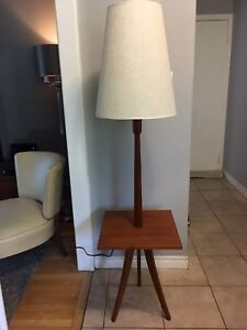 Mid century modern Teak floor lamp with original shade