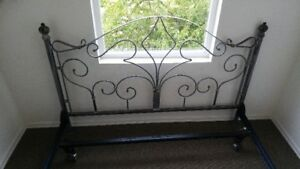 ANTIQUE DOUBLE SIZE BRUSHED CAST IRON SILVER ON BLACK,VERY RICH