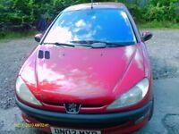 peugeot 206 hdi diesel 1997cc 52 plate 5 door hatchback red alloy wheels air con