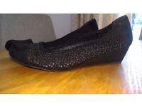 Black cutout feature Roberto Vianni wedge heels/work shoes