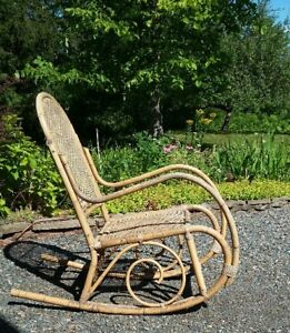 Bamboo and Cane Rocking Chair