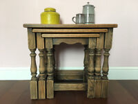 Antique Nest of Three Rustic Hygge Oak Tables £140