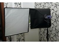 2 x Interfit EX150 flash units with 2 x Interfit Cor 750 stands and 2 x Phot-R 60cm x 60cm softboxes