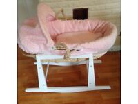 Beautiful pink Moses basket with stand