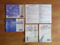 Sega Master System Retro - Instructions/Manuals