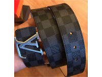 Louis Vuitton black/Graphite damier belt with box and dust bag LV