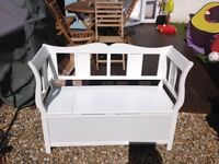 White bench seat with storage