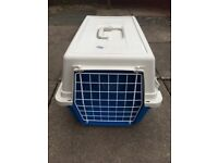 Ferplast blue and white plastic small animal transporter