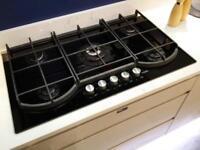 NEW/UNUSED 5 burner gas hob on black glass with wok stand - AEG HG995440NB