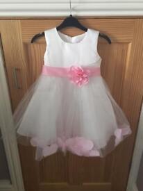 White & Pink/ ivory & pink flower girl dresses