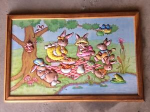 """quilted """"raised"""" bunnies in wooden picture frame"""
