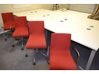 Large white desk. 4 person desk with 4 chairs (mark on 1 chair as seen in pic) 3200 x 1600mm.