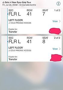 J COLE FLOOR TICKETS JULY 28TH SHOW