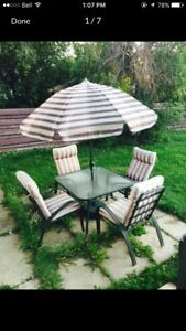 4 chair thick cushions patio set 130 OBO