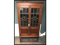 Antique Edwardian Leaded Glazed Oak Cabinet/Bookcase on stand