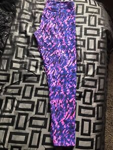 Ladies neon pink and purple athletic leggings size Large