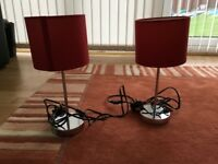 Table lamps, red shades X 2