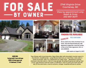 4 year old Home For Sale by Owner-Finders Fee Offered