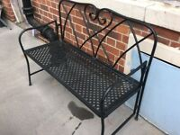 Foldable metal 2 seater outdoor bench