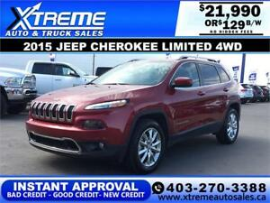2015 JEEP CHEROKEE LIMITED $129 bi-weekly APPLY NOW DRIVE NOW