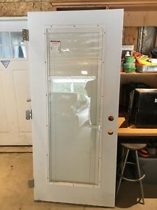 Exterior insulated Glass door with blinds inside glass