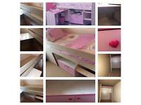Dreams MidSleeper Bed, With Pull out Desk, Cupboard with shelf & Hidden Play Den/Storage area