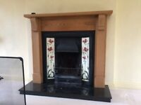 Open fireplace with haearth and chunky surround