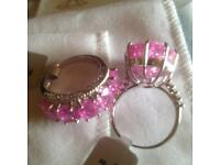 2 sterling silver bright pink rings