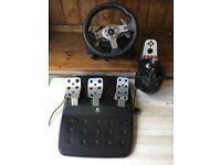 Logitech G25 Force Feedback Steering Wheel.