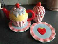 Strawberry teapot set plates and cupcake jar