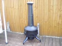 LARGE STEEL CHIMENEA IN VERY GOOD CONDITION REDUCED FOR QUICK SALE