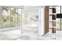 Lux 203 2 Door Sliding Wardrobe in White black wenge full mirror
