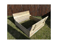 Sandbox - sandpit closed with benches wood impregnated 120x120cm