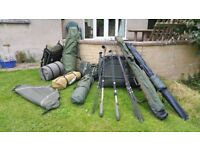 Fishing Equipment for sale, Large quantity of Rods and Luggage.