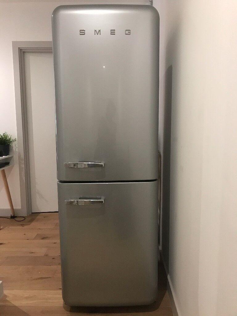 Silver Retro 50s Style Smeg Fridge Freezer