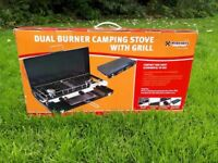 Dual burner camping stove with grill