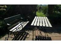 Genuine vintage garden furniture, bench & tables & chairs