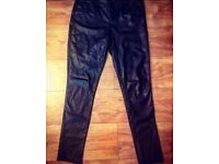 New Look Black skinny PVC Leather Look Trousers - Size 14
