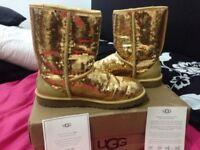 Genuine gold sparkled ugg boots