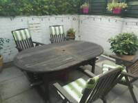 Garden furniture Extendable table 4 recliner chairs