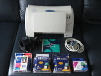HP Apollo P-1200 inkjet printer with all leads, disc and 4 unused ink cartridges