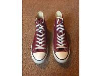 Burgundy converse high tops size 10 shoe hi-tops men women unisex