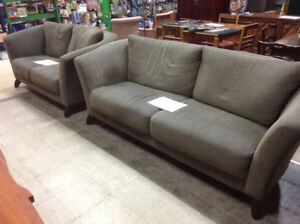 Grey Fabric Couch and Loveseat